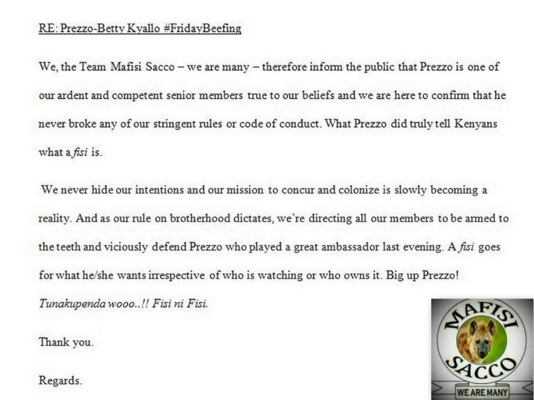 Team Mafisi statement