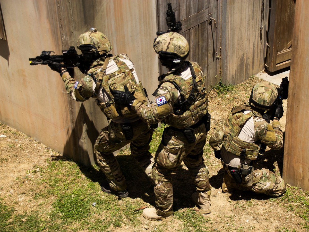 Members of South Korea's special forces participate in military training.(Cpl. Matthew J. Bragg/US Marine Corps)