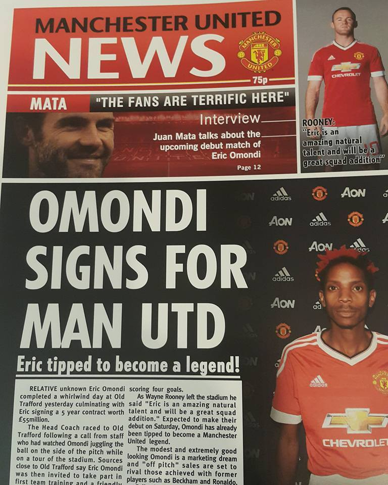Photos/Videos:Eric Omondi 'Signs' £55 Million Five Year Contract with Manchester United