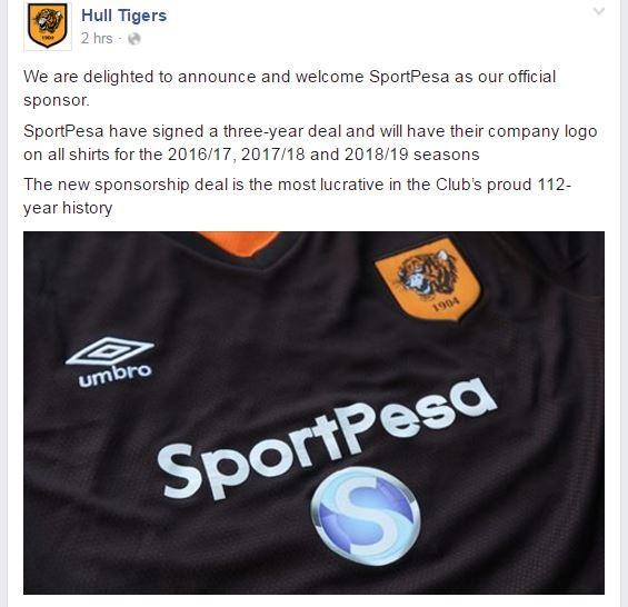 SportPesa is the New Shirt Sponsor for English Premier