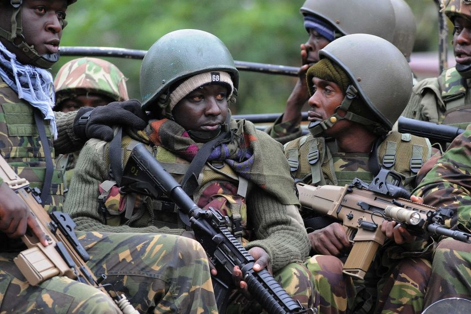 KDF soldiers holding FN SCAR-H rifles at Westgate