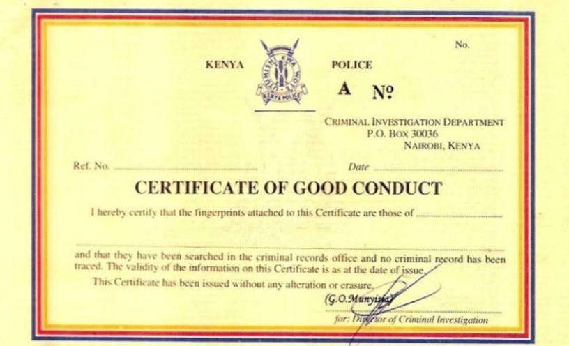 DCI Explains Why Citizens Pay Sh1000 For Good Conduct