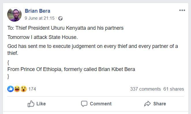 JKUAT Student Shot at State House Promised To Kill Uhuru on Facebook
