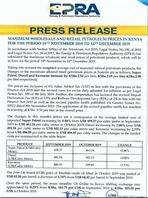 epra - Blow for Motorists as Fuel Prices Rise in Latest Review