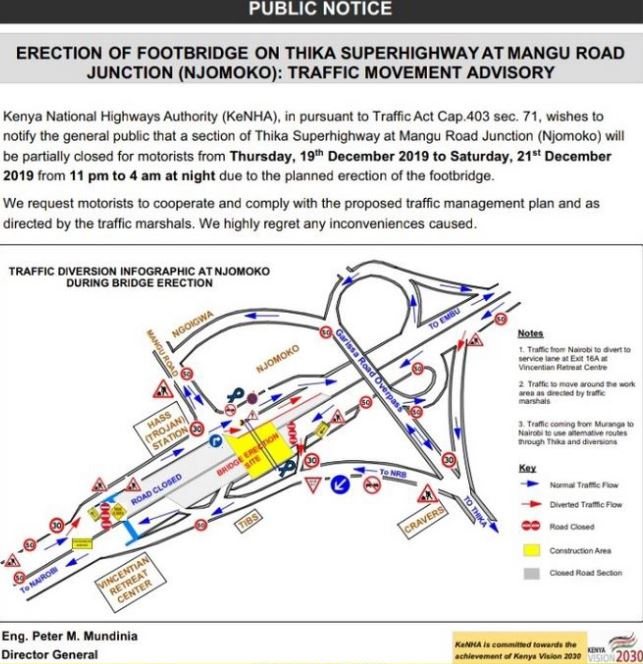 kenha - Thika Road Closure: Section of Superhighway to be Closed for 3 Days