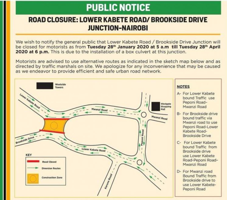 lower kabete - Nairobi Junction Closure: Lower Kabete /Brookside Drive to be Closed for Two Months