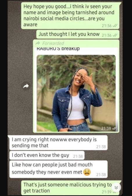 Willis Raburu S Alleged New Catch Claims I Don T Even Know The Guy