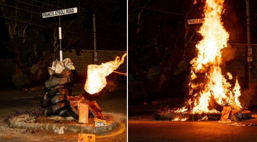 Atwoli's Street Sign Burned and Vandalized on Monday Night